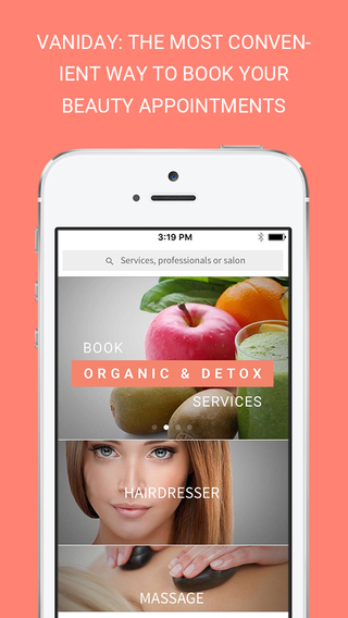 Vaniday beauty appointment app phone